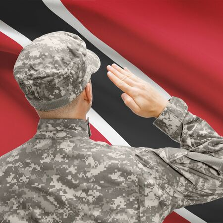 national flag trinidad and tobago: National military forces with flag on background conceptual series - Trinidad and Tobago