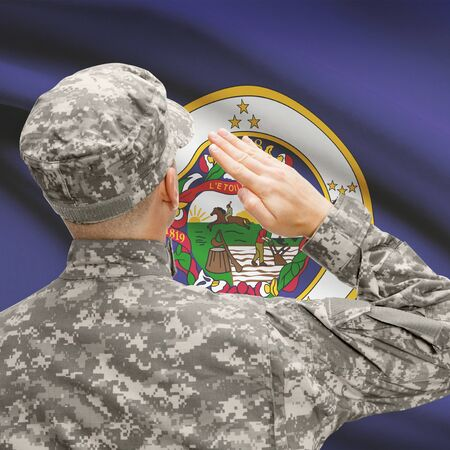 united states air force: Soldier saluting to USA state flag conceptual series - Minnesota