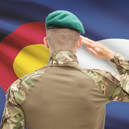 united states air force: Soldier saluting to US state flag series - Colorado
