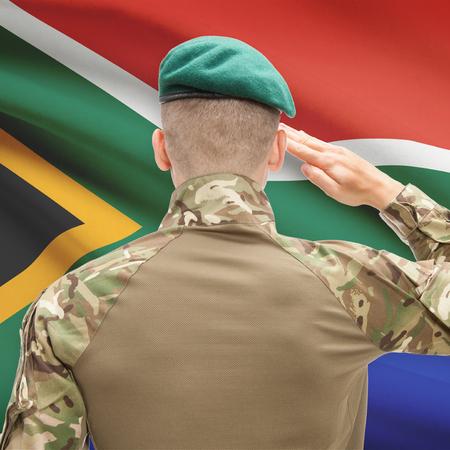 soldado: Soldado en el sombrero frente series bandera nacional - Sudáfrica