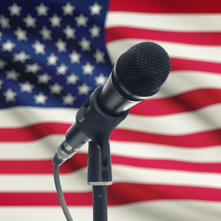 microphone on stage: Microphone with national flag on background series - United States