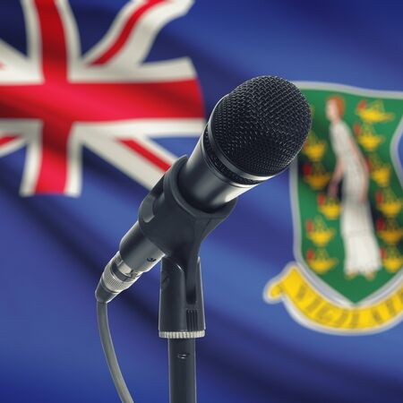 virgin islands: Microphone with national flag on background series - British Virgin Islands Stock Photo