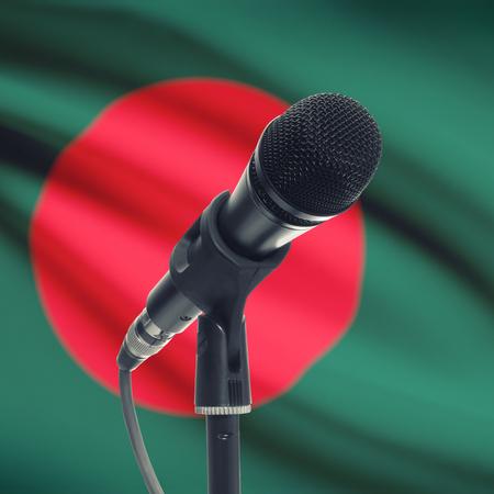 national flag bangladesh: Microphone with national flag on background series - Bangladesh