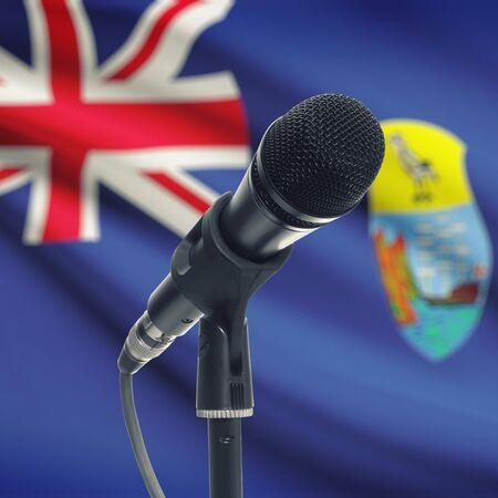 helena: Microphone with national flag on background series - Saint Helena