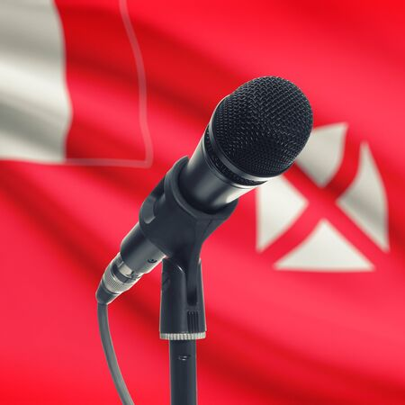 wallis: Microphone with national flag on background series - Wallis and Futuna