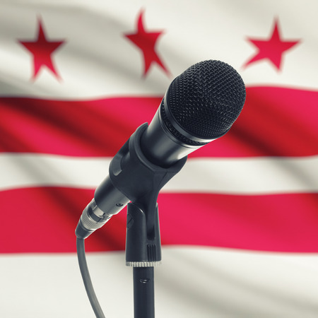 columbia district: Microphone with US states flags on background series - District of Columbia