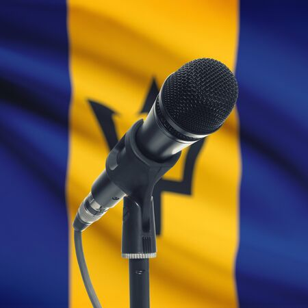 barbadian: Microphone with national flag on background series - Barbados