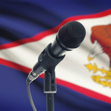 Microphone with national flag on background series - American Samoa