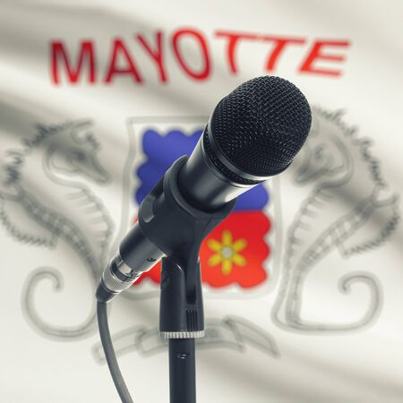 mayotte: Microphone with national flag on background series - Mayotte