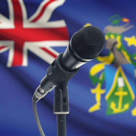 pitcairn: Microphone with national flag on background series - Pitcairn Island Stock Photo
