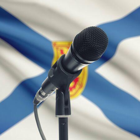 nova: Microphone with Canadian province flag on background series - Nova Scotia Stock Photo