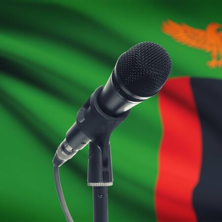 zambian: Microphone with national flag on background series - Zambia