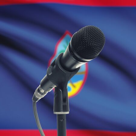 guam: Microphone with national flag on background series - Guam Stock Photo