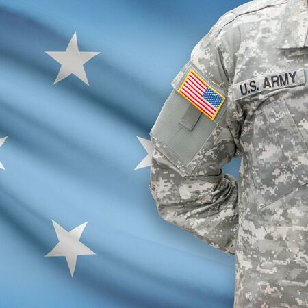federated: American soldier with flag on background series - Federated States of Micronesia