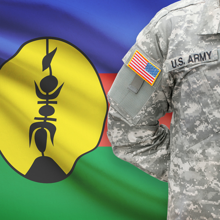 new caledonia: American soldier with flag on background series - New Caledonia
