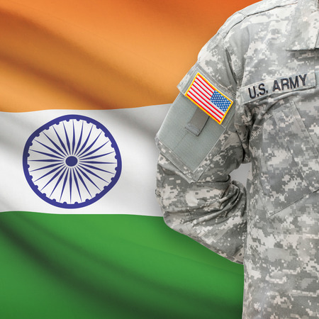 indian flag: American soldier with flag on background series - India