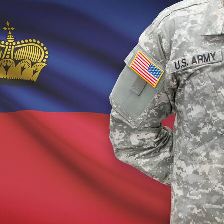 principality: American soldier with flag on background series - Principality of Liechtenstein