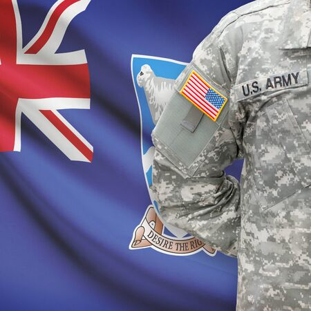 falkland: American soldier with flag on background series - Falkland Islands