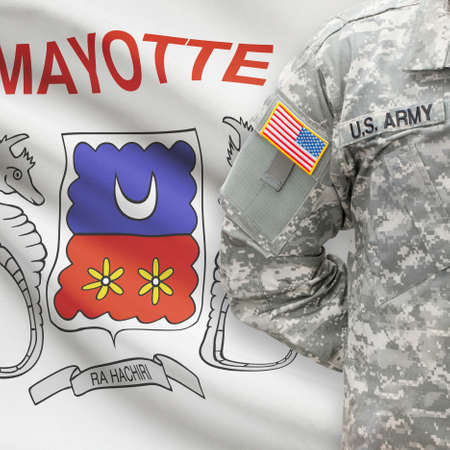 mayotte: American soldier with flag on background series - Mayotte