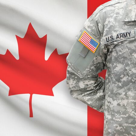 canadian state flag: American soldier with flag on background series - Canada