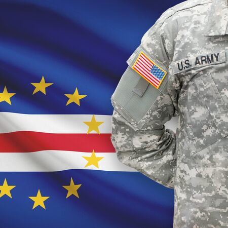 cape verde: American soldier with flag on background series - Cape Verde Stock Photo