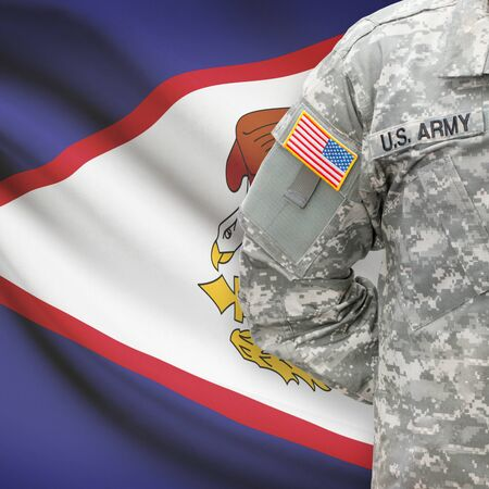 samoa: American soldier with flag on background series - American Samoa Stock Photo