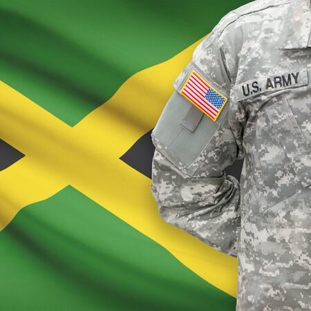 jamaican man: American soldier with flag on background series - Jamaica
