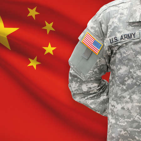 peoples: American soldier with flag on background series - Peoples Republic of China
