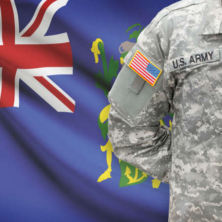 pitcairn: American soldier with flag on background series - Pitcairn Group of Islands