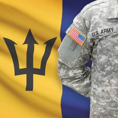 barbadian: American soldier with flag on background series - Barbados