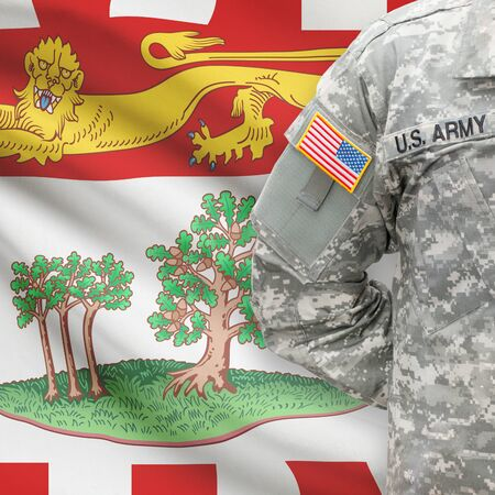 american hero: American soldier with Canadian province flag on background series - Prince Edward Island