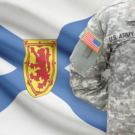 nova scotia: American soldier with Canadian province flag on background series - Nova Scotia