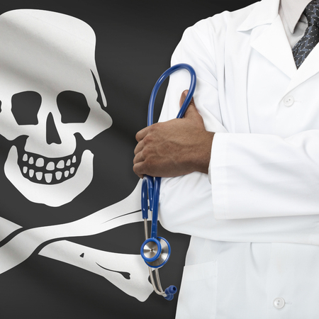 roger: Concept of national healthcare system series - Jolly Roger as piracy symbol Stock Photo