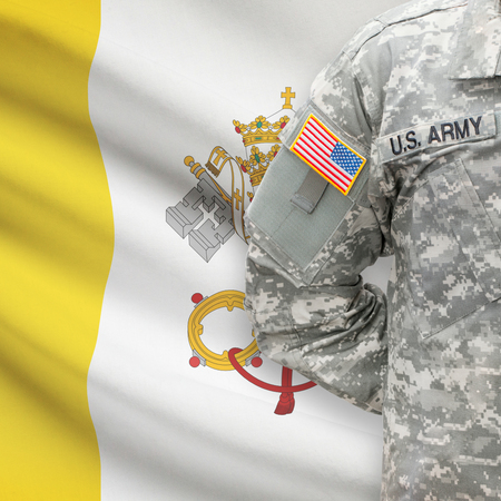 vatican city: American soldier with flag on background series - Vatican City