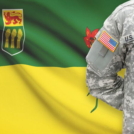 united states air force: American soldier with Canadian province flag on background series - Saskatchewan