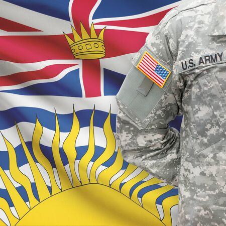 american hero: American soldier with Canadian province flag on background series - British Columbia