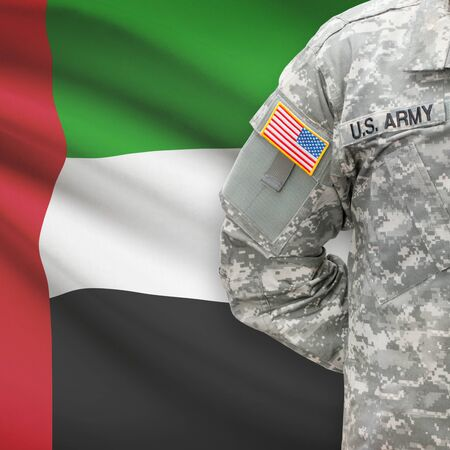united states air force: American soldier with flag on background series - United Arab Emirates Stock Photo