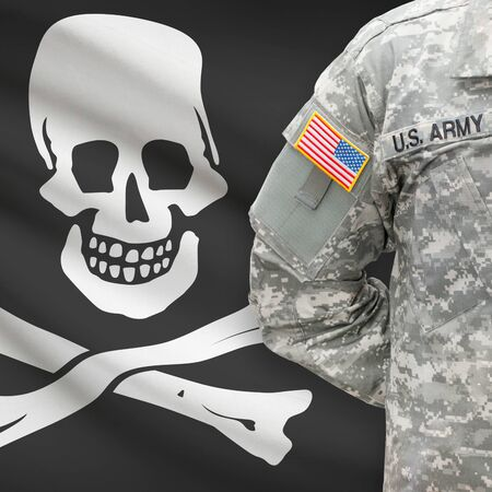 piracy: American soldier with flag on background series - Jolly Roger - symbol of piracy