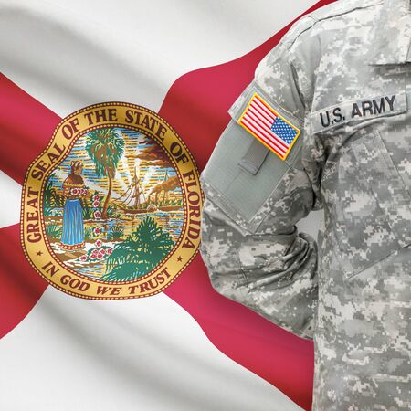 floridian: American soldier with US state flag on background series - Florida