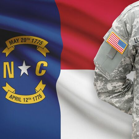 united states air force: American soldier with US state flag on background series - North Carolina