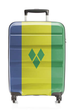 grenadines: Suitcase painted into national flag series - Saint Vincent and the Grenadines