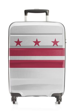district of colombia: Suitcase painted into US state flag series - District of Columbia Archivio Fotografico