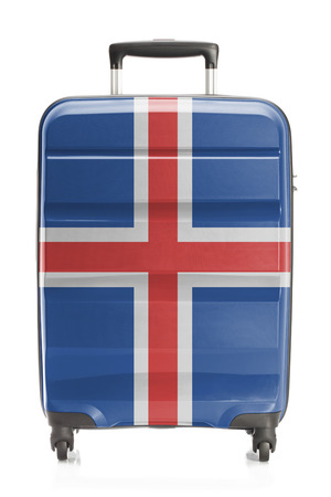 the icelandic flag: Suitcase painted into national flag series - Iceland Stock Photo