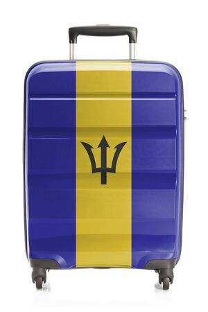 barbadian: Suitcase painted into national flag series - Barbados