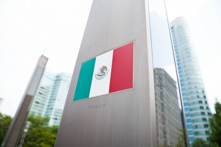 constitutional: Series of national flags on pole - Mexico