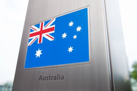 domestic policy: Series of national flags on pole - Australia