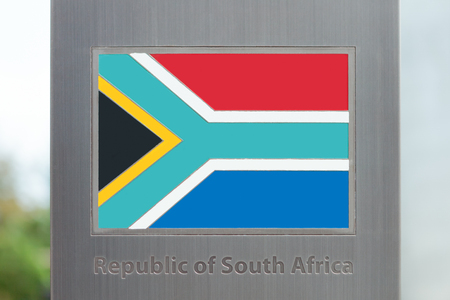 domestic policy: Flags on pole series - South Africa Stock Photo