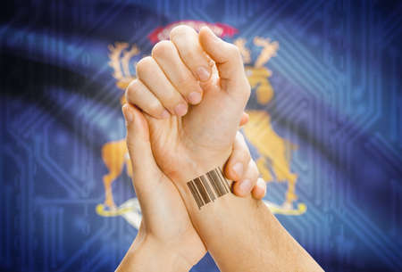 michigan flag: Barcode ID number tatoo on wrist and USA statesl flag on background - Michigan Stock Photo