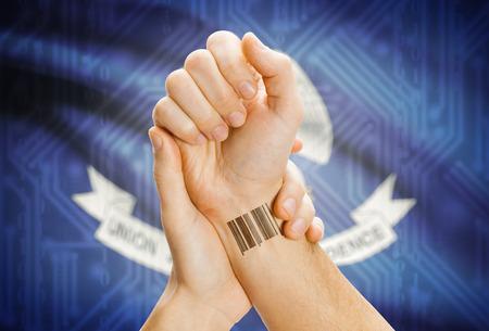 louisiana flag: Barcode ID number tatoo on wrist and USA statesl flag on background - Louisiana