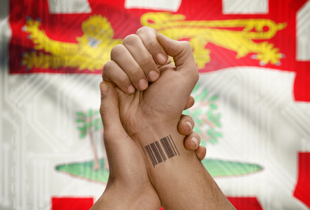 tatoo: Barcode ID number tatoo on wrist of dark skin person and Canadian province flag on background - Prince Edward Island Stock Photo